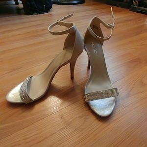 Aldo silver ankle strap sandals